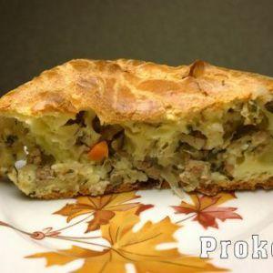 Пиріг на кефірі і майонезі з фаршем і капустою