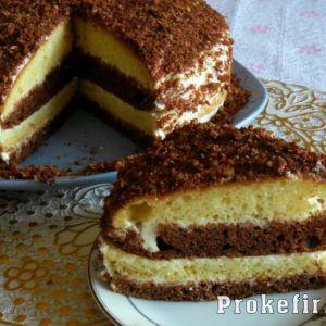 Торт зі сметанним кремом на кефірі