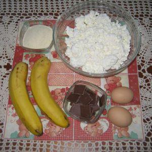 Сирно-бананова запіканка з шоколадом в мультиварці